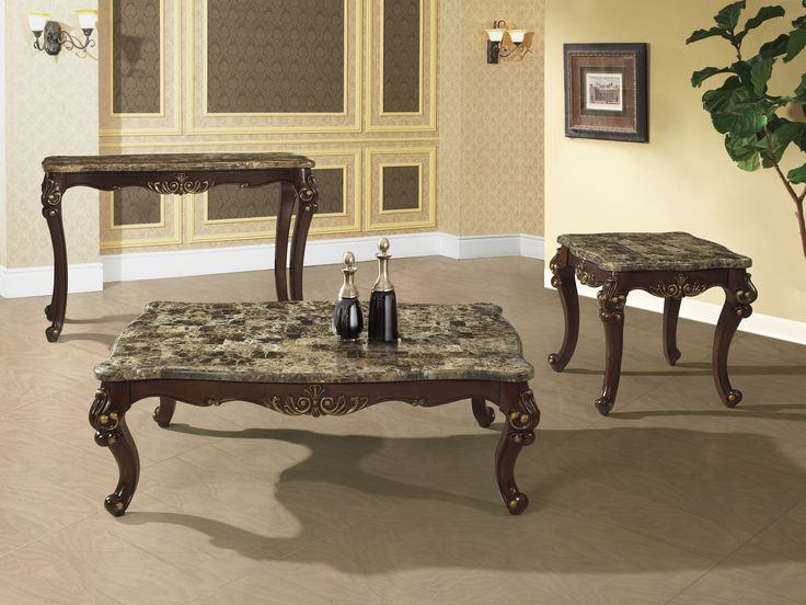 This Special Collection Of Netherlands Coffee Table Set Features Handcrafted Wood Design With Gold Trimmings Traditional