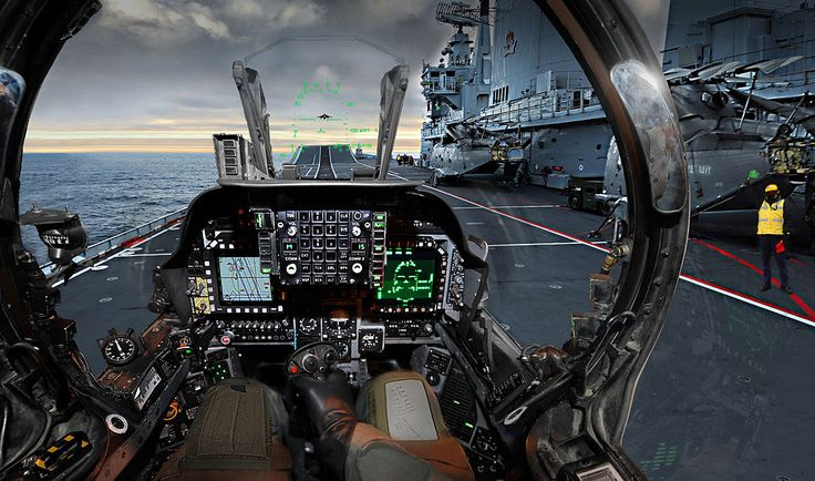 A Harrier pilot's view as he prepares to take off from the aircraft carrier HMS Ark Royal.