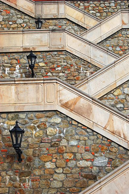 Staircase of Bratislava Castle | by © Atilla2008 Bratislava Castle is the main castle of Bratislava, the capital of Slovakia. The massive rectangular building with four corner towers stands on a quite isolated rocky hill of the Little Carpathians ... Wikipedia