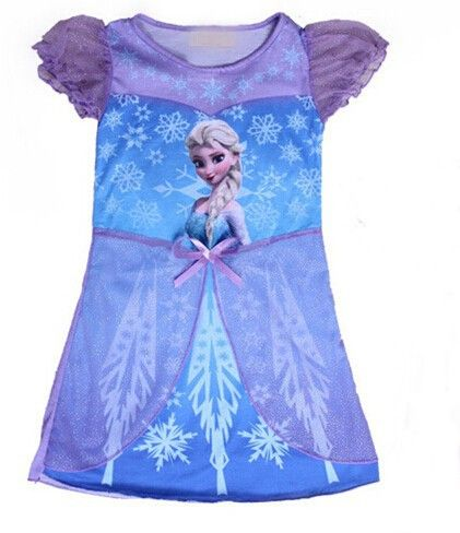 Lilac cotton nightdress decorated with Elsa print, partial tulle skirt overlay, satin bow as well as tulle sleeves