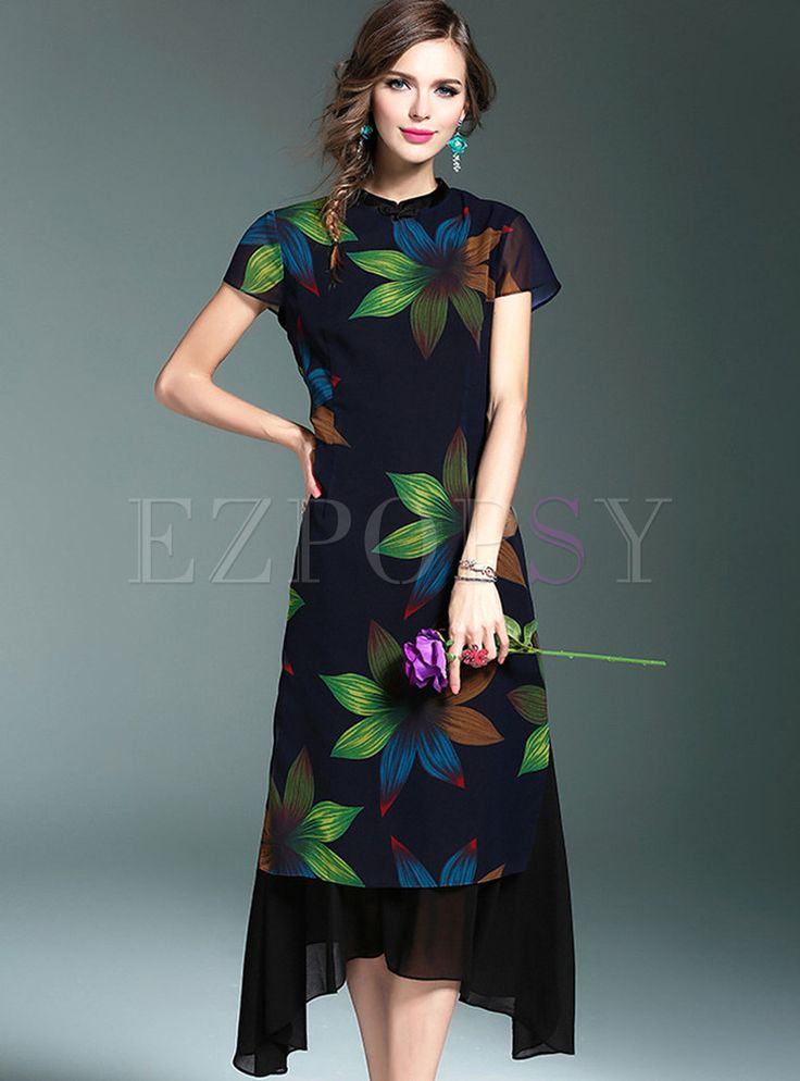 Shop for high quality Vintage Stand Collar Print Chiffon Maxi Dress online at cheap prices and discover fashion at Ezpopsy.com