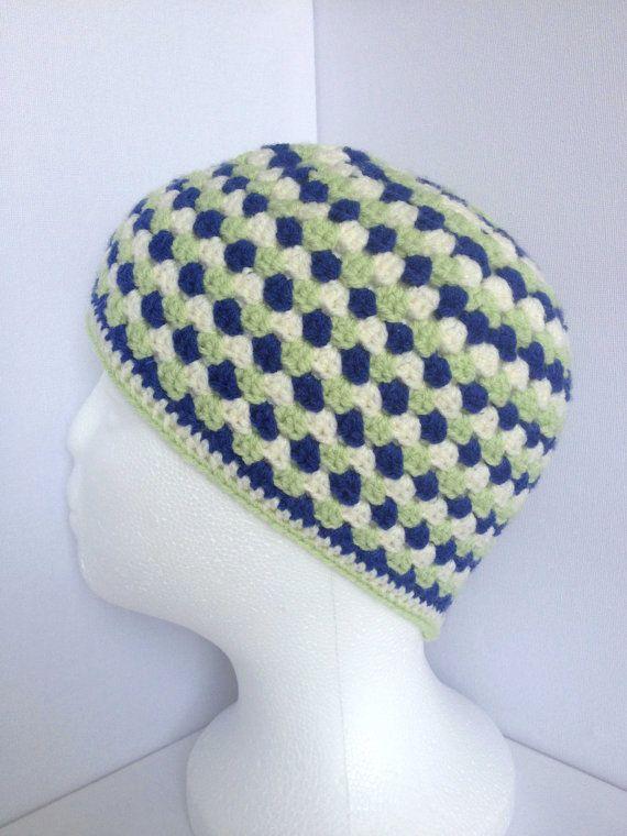 Boys Crochet Beanie. Ages 4 to 8 Granny by ScruffyDucksCrochet, £20.00
