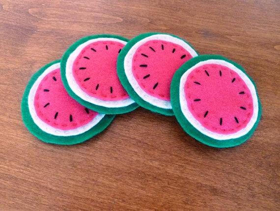 Watermelon Felt Coasters Set