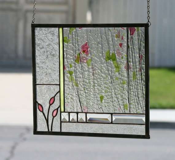 ENGLISH GARDEN - Abstract Stained Glass Window Panel with Greens, Pink, Rose Colors and Clear Bevels