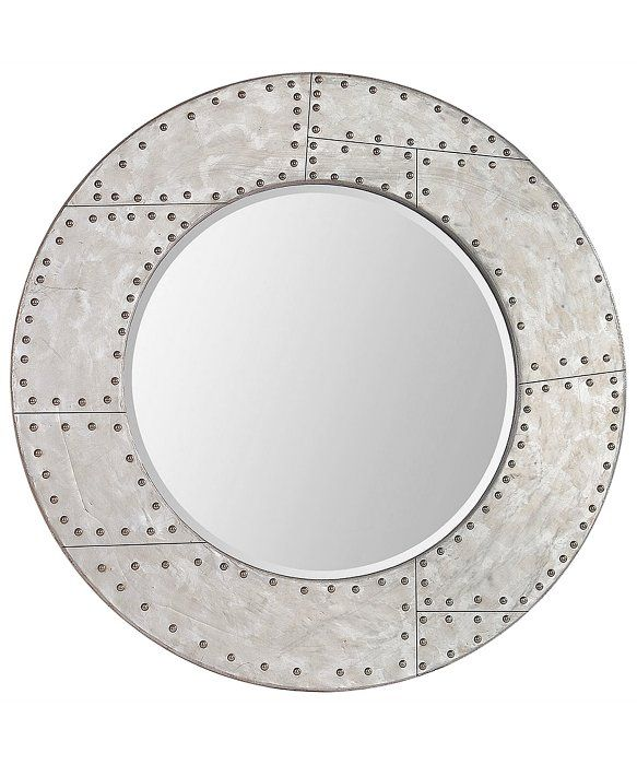 Superior 36 Inch Round Mirror Part - 10: Off Basalla Silver Leaf 36 Inch Round Mirror By Ren Wil. @ This Industrial  Style Mirror Is Finished In A Distressed Silver Leaf And Has Rivet Style  Accents.