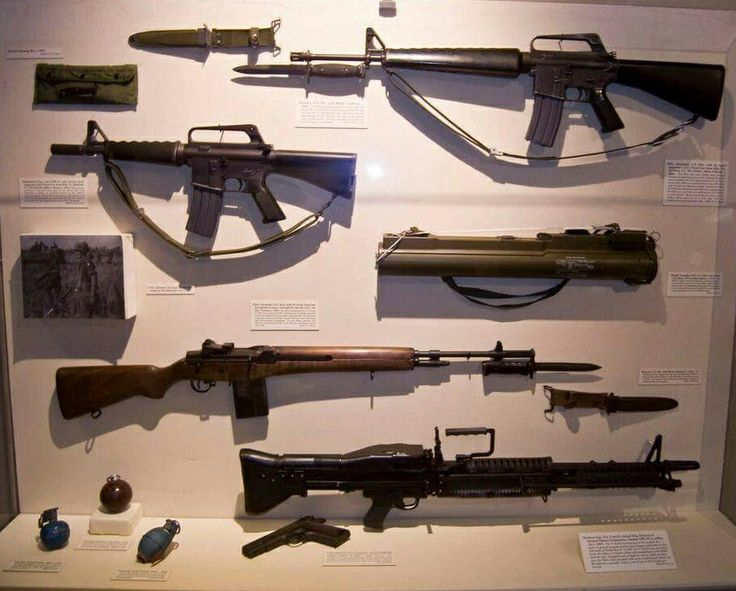 A range of weapons used by Australian and New Zealand troops in the Vietnam War ~ M16 rifle,CAR-15 carbine,M72 LAWS rocket,M14 Springfield rifle and M60 GPMG (machine gun).
