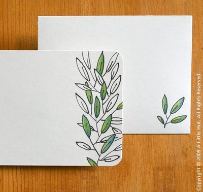 stationary, leaves, green, hand-drawn...water color or colored pencil?