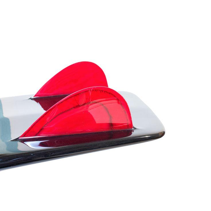 Custom Hand Foiled Keels on a 5'3 Black Beauty Mini Simmons by Driftwood Caravan Surfboards