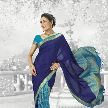 Blue and Teal Blue Pure kanchipuram Handloom Silk Saree with Blouse
