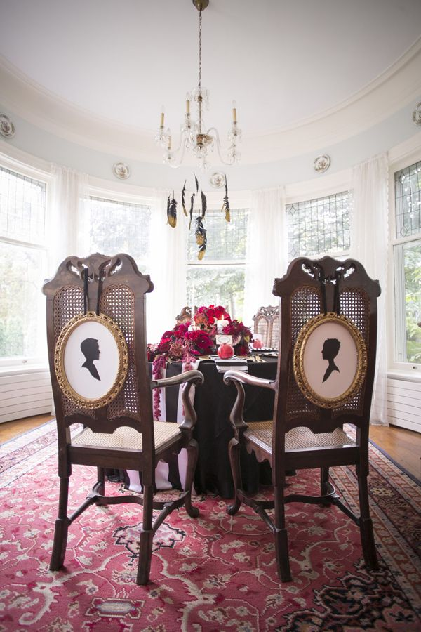 silhouette chair backs // photo by Eva Derrick, styling by Amanda Cowley // http://ruffledblog.com/gothic-victorian-styled-wedding