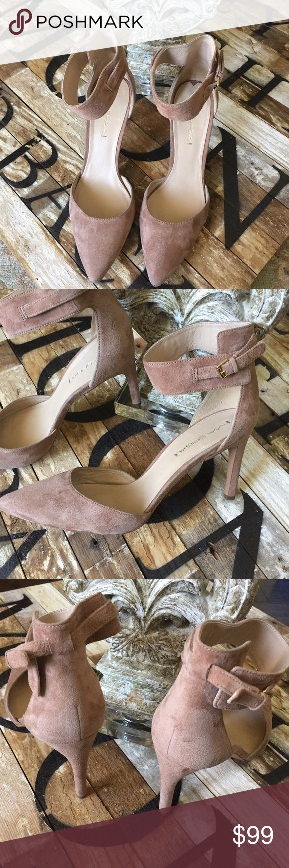 """Via Spiga Suede ankle strap Heels Stunning and classic is an understatement. WORN ONCE! Suede Via Spiga fashionable pointy toe pump with adjustable ankle strap with buckle closure. """"Idabelle"""" model. Perfect  3 1/2"""" suede covered heel. Via Spiga Shoes Heels"""