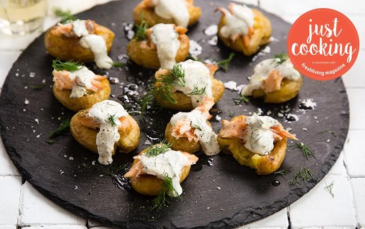 Roast potatoes with hot smoked salmon