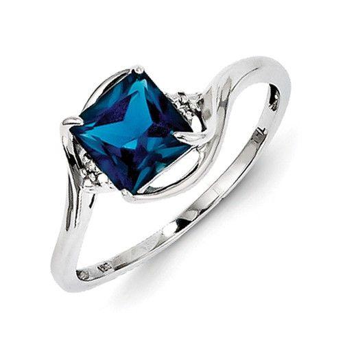 Sterling SilverDiamond & London Blue Topaz Ring