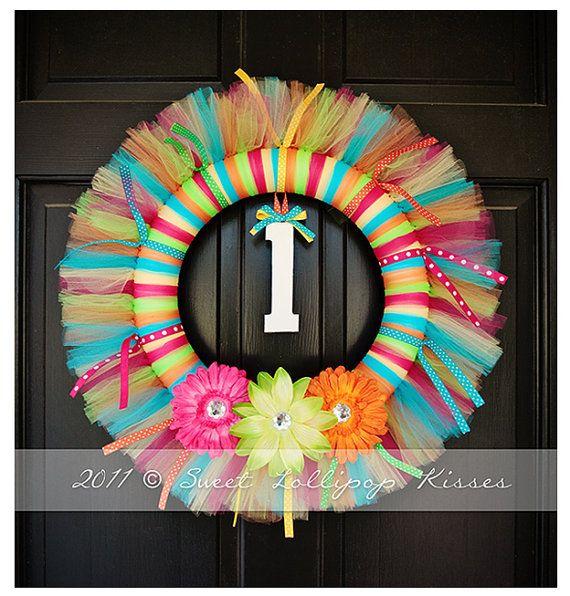 "TUTU WREATH: Size LARGE, ""Rainbow"" Design – Great for Girls Birthday Decoration,"