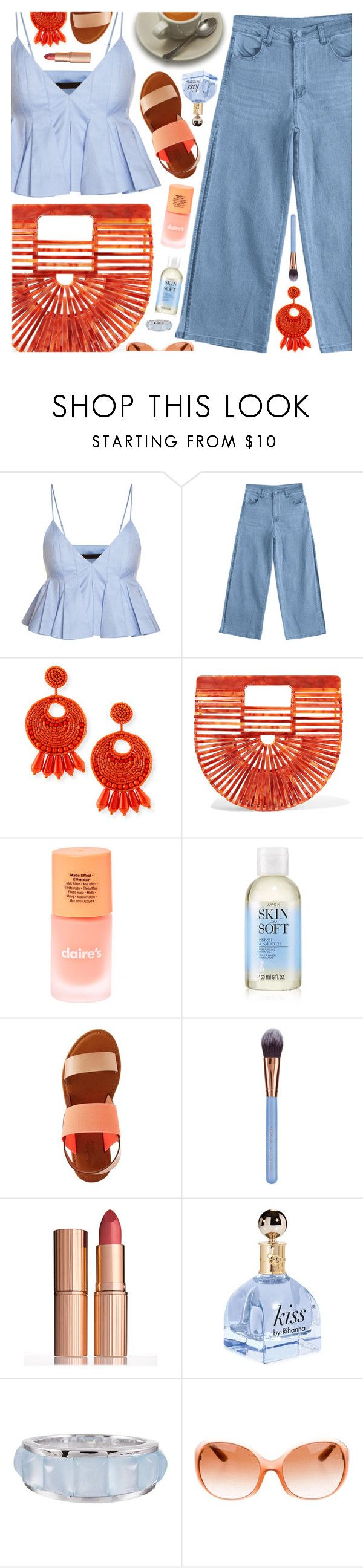 """(feat. Gucci Mane), Selena Gomez"" by blendasantos ❤ liked on Polyvore featuring Kenneth Jay Lane, Cult Gaia, claire's, Avon, Charlotte Russe, Luxie, Charlotte Tilbury, Seaman Schepps, Prada and pleats"