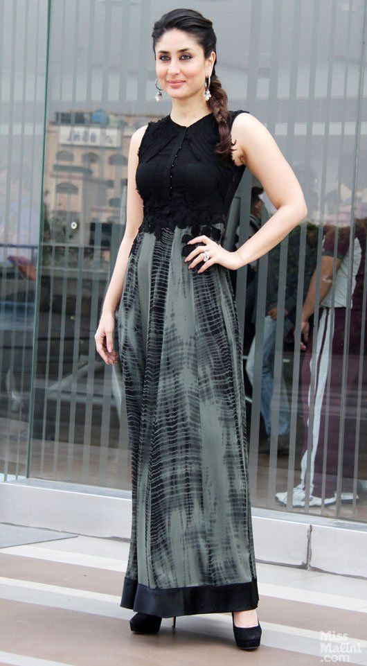 Kareena+Kapoor+Khan+wears+a+black+and+grey+ensemble+for+a+promo+event+in+Delhi.