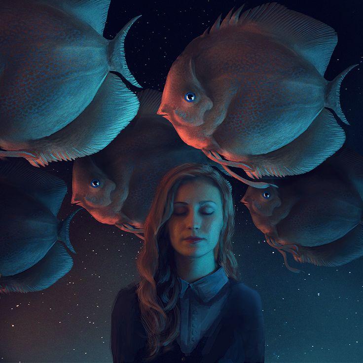 Фото Девушка в окружении огромных рыб, by Cestica ...