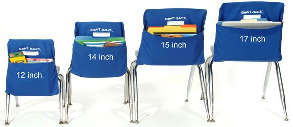 Seat Sack: Organizers for back of chairs. Great for home, school, office. A really great idea. In office section, there is also a seat sack that slips over the front of a file drawer--cool!