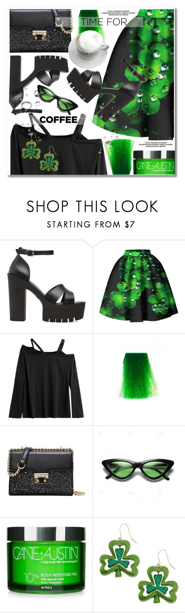 """Buzz-Worthy: Coffee Date"" by paculi ❤ liked on Polyvore featuring Manic Panic NYC, Cane + Austin, black, GREEN, skirts and CoffeeDate"