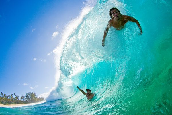 Body surfing north shore of Hawaii