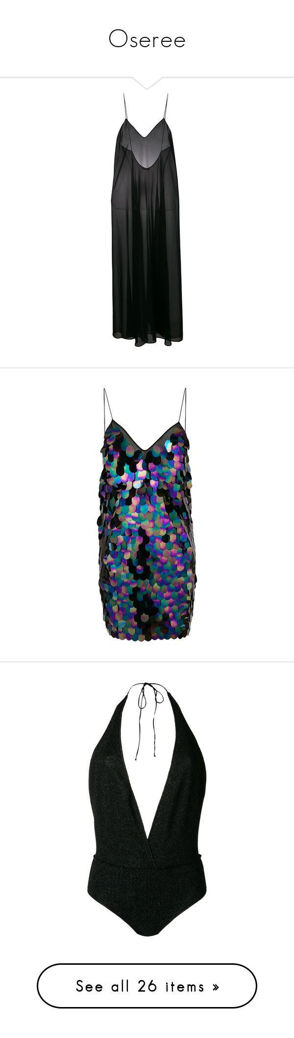 """Oseree"" by designing-myworld ❤ liked on Polyvore featuring dresses, black, semi sheer dress, short sequin dress, multicolored dress, multi coloured dress, multi-color dress, multi color sequin dress, swimwear and one-piece swimsuits"