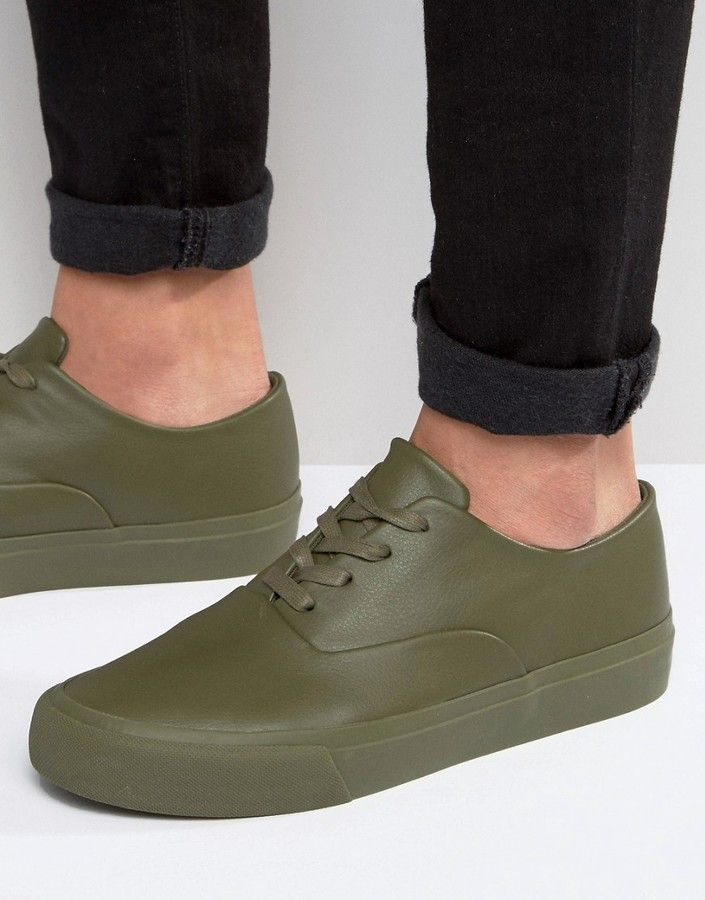 ASOS Oxford Lace Up Sneakers in Khaki