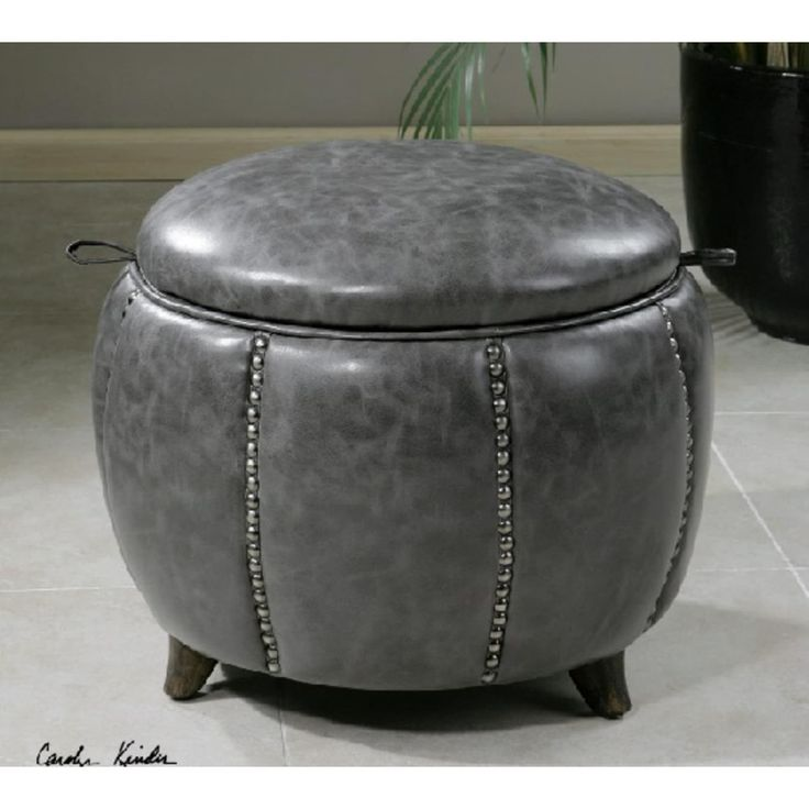 20.5 Cloudy Zinc Gray w/Silver Studs Expresso Stained Wood Round Storage Footstool Ottoman