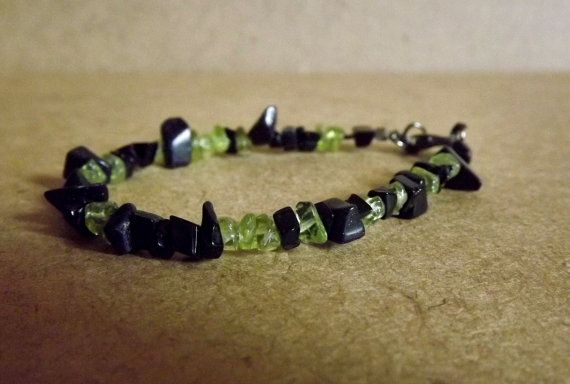 Artemis Goddess Bracelet with Peridot  Blue Goldstone by Mythfolk, $12.50