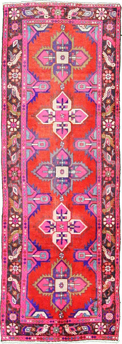 3' 3 x 9' 3 Red Hamedan Aztec Area Rug