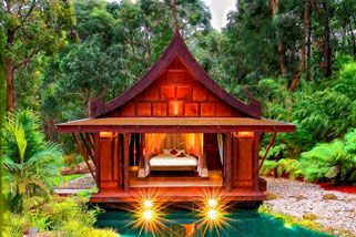 Romantic Balinese retreat for two...but only 45 minutes from Melbourne. You don't have to go far to feel worlds away.