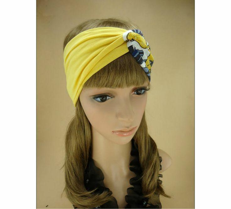 gele bloemen hoofdband twist turband slip op stijl vrouw yoga hoofdband haarband hoofdband