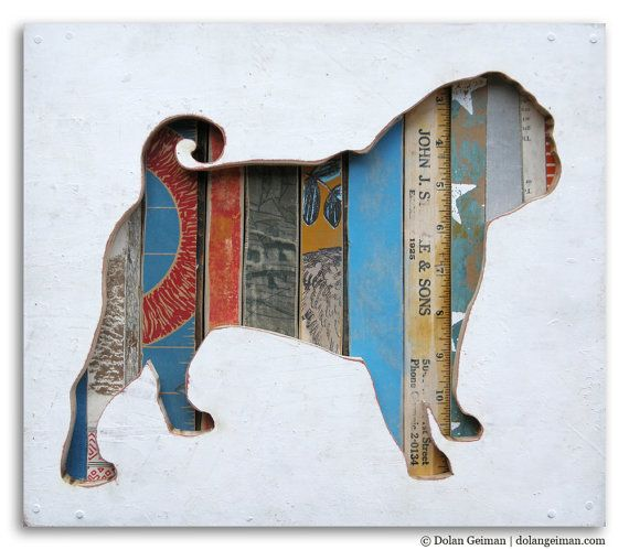 Pet Pug Dog Art, Dog Walk (Mini) Collection, Made to Order. $250.00, via Etsy.