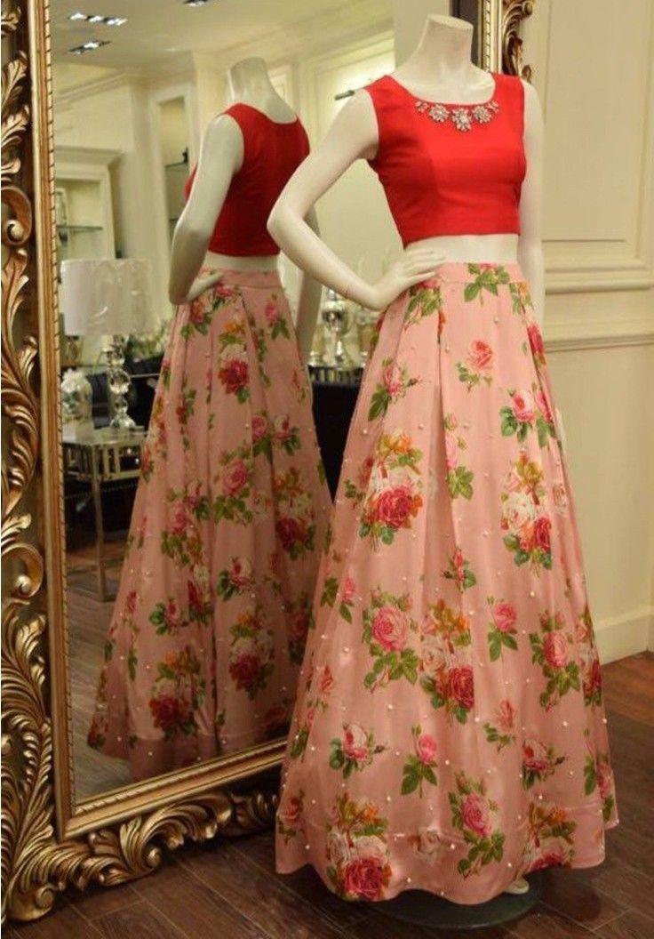 Bhagalpuri Silk Cream Floral Print Semi Stitched Lehenga - JD12