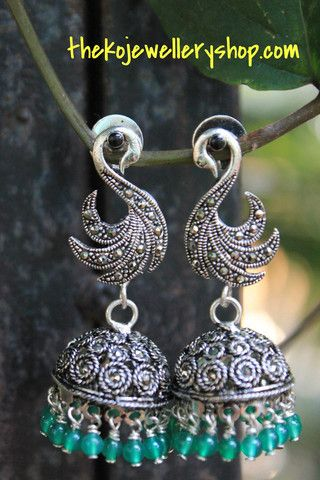 Peacock jhumka in silver | The KO Jewellery Shop