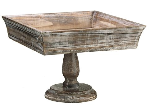 Looking for wood wedding decorations to create unique centerpiece displays? Check out this adorable square wood footed pot in distressed gray brown. Use as a pedestal to display floral arrangements, or use as a cake stand or a dessert bar for your rustic chic wedding. #weddingdecorations