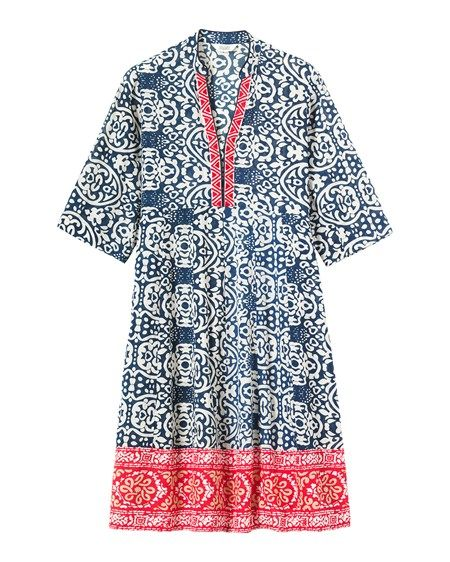 Women's Embroidered Batik Print Dress
