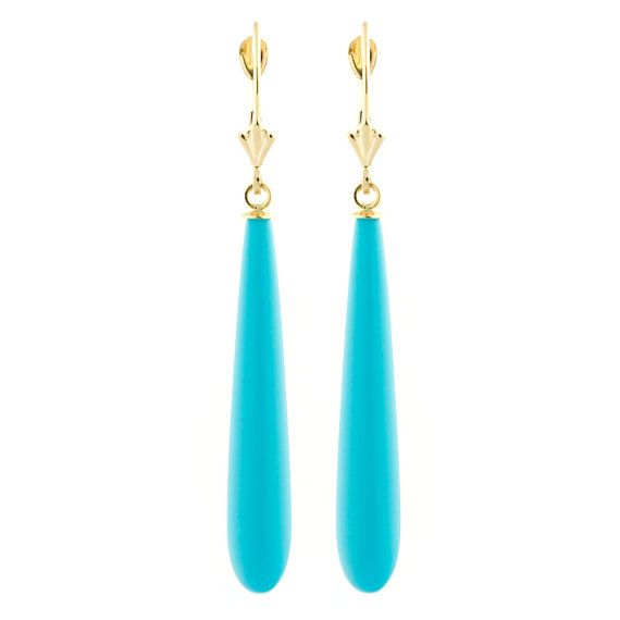Long 35mm Sleeping Beauty Turquoise Teardrop Lever by 1000jewels, $171.00