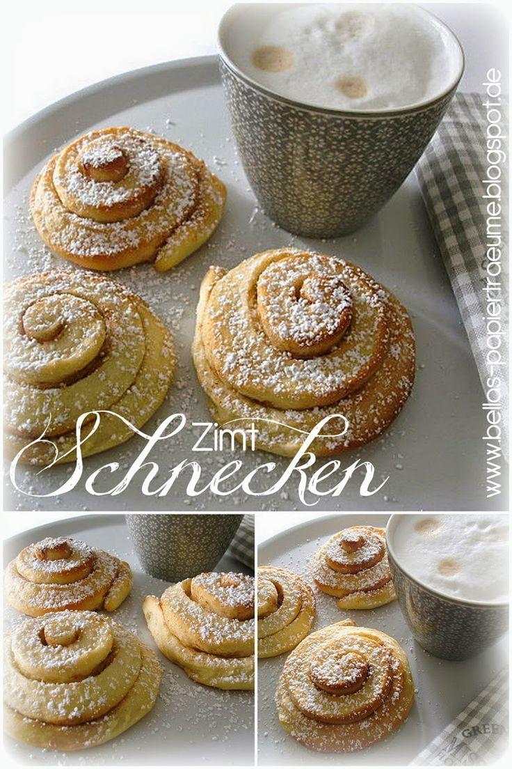 Zimtschnecken....  ***REZEPT*** 500g Mehl  -  1 Würfel Hefe  -  150ml Milch  -  100g Zucker  -  2 Eier  -  100g weiche Butter  -  2 Pck. Vanillezucker     Hefeteig herstellen und gehen lassen, anschließend zu einem Rechteck ausrollen und mit flüssiger Butter bestreichen. Mit Zimt / Zucker bestreuen und evlt. Obst (Apfelstückchen, Heidelbeeren...) darauf geben.  Teig zusammenrollen und in ca. 2cm Scheiben schneiden. Bei 180° Heißluft ca. 15 Minuten backen ...... fertig!!!!
