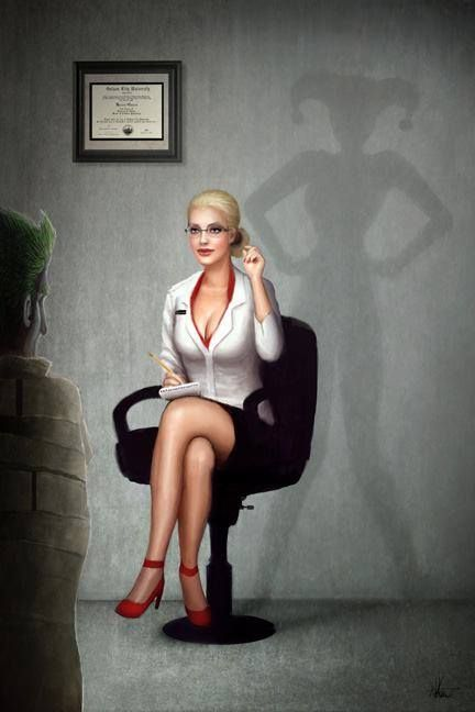 Dr. Harleen Quinzel. So much better than the batman game version that turned her into a tramp-stamp wearing scuz.