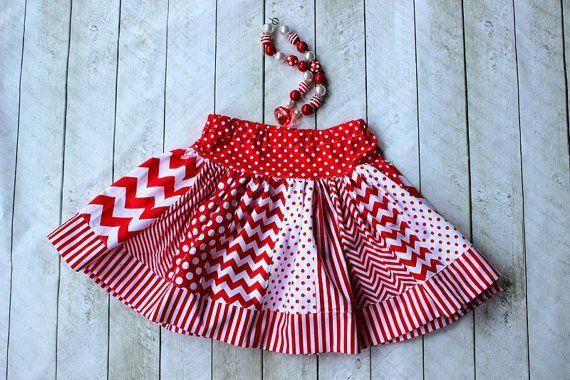 chevron skirt girls red white chevron skirt by LightningBugsLane