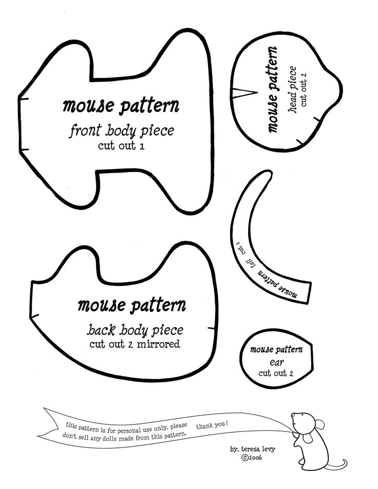 pattern for felt mouse | http://sewingstars.com/mouse/mouse_pattern02.gif