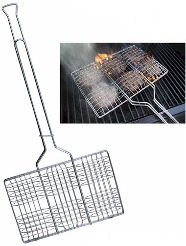 Hamburger grilling basket for outdoor campfire cooking or for your BBQ.
