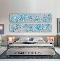 Pinturas abstractas de plata / Set de 2 cuadros de medida 72 x
