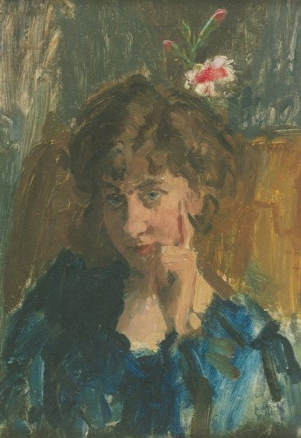 'Isaac' Lazarus Israels (Amsterdam 1865-1934 Den Haag) A portrait of the writer Jo de Wit - Dutch Art Gallery Simonis and Buunk Ede, Netherlands.