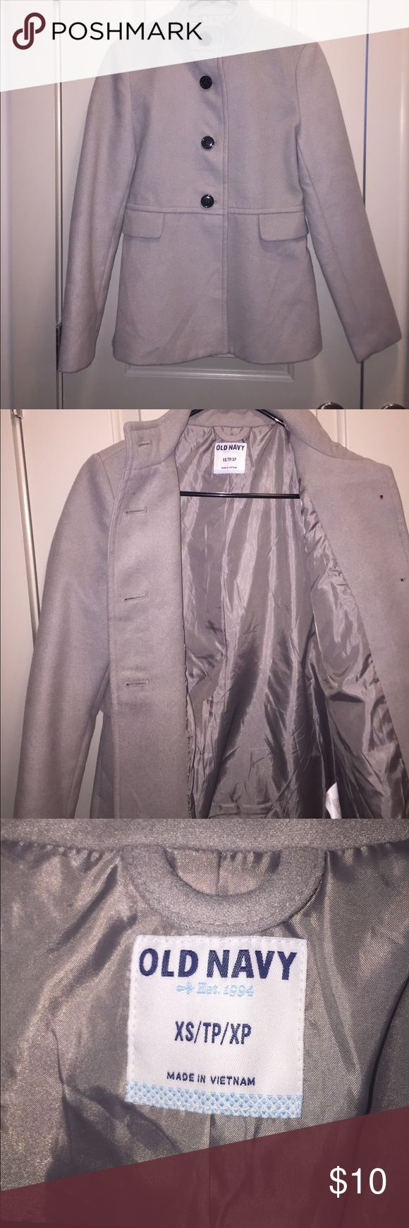 Old Navy - Light Grey Peacoat XS Super cute light grey pea coat for sale! Very stylish and in good condition. Not very noticeable pink mark on the back of jacket(see pic). *Price is negotiable* Old Navy Jackets & Coats Pea Coats
