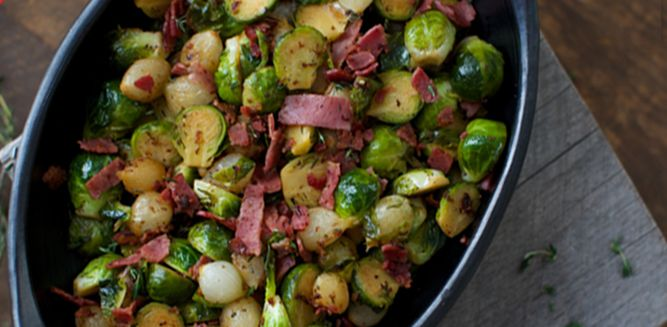 Braised Brussels Sprouts with Bacon and Pearl Onions