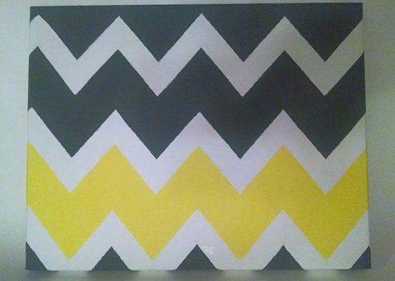 Grey and yellow chevron canvas painting chevron by EnglishBliss, $20.00