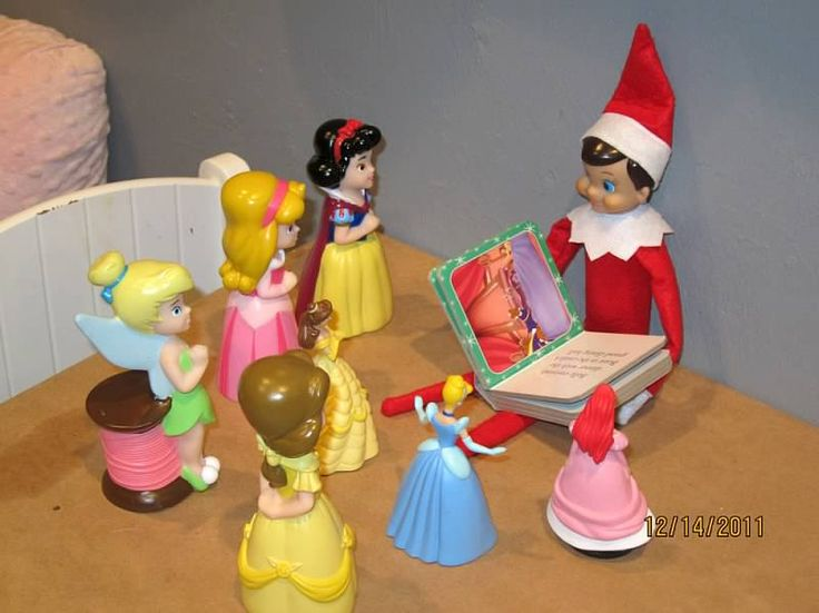 Elf reading to the Princesses, but for my boys I can switch it up and make it super heros :0)