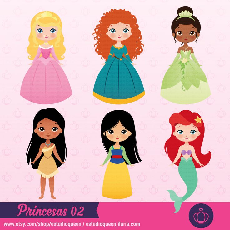 clipart princess, clipart princesas disney, princesas, mulan, ariel pequena sereia, tiana, pocahontas, valente, brave, merinda, bela adormecida, princesas fofas, cute princess
