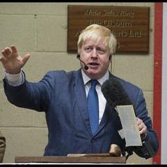 Boris Johnson auctions off a cow at Gisburn Auctions Mart
